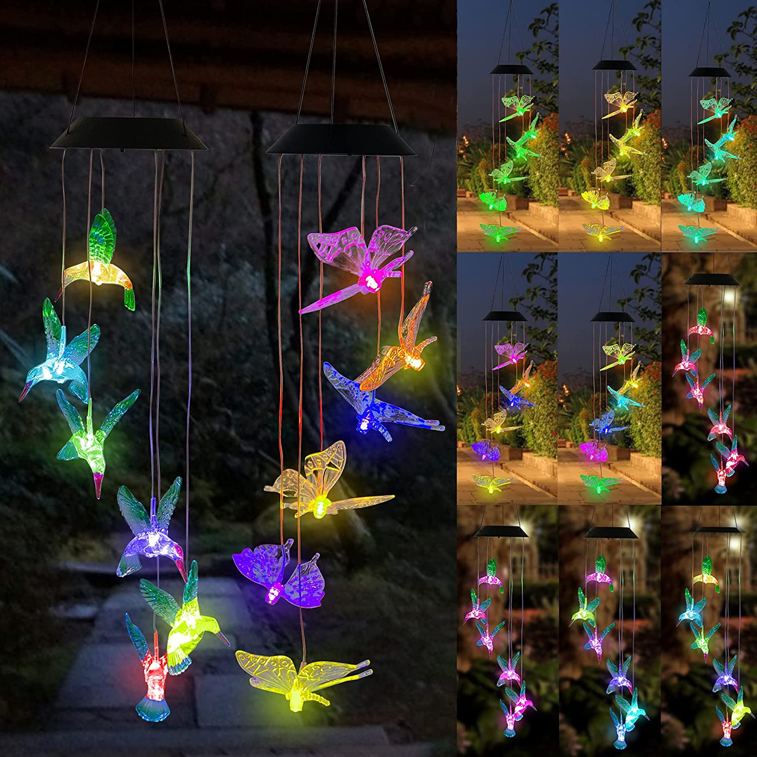 FUNPENY Solar Wind Chimes, Set of 2 LED Solar Hanging Butterfly & Hummingbird Lights Outdoor Waterproof Mobile Wind Chime for Home, Garden, Yard Decoration, Gift for Class