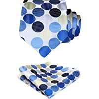 HISDERN Polka Dot Tis for men Wedding Tie Handkerchief Woven Classic Men's Necktie & Pocket Square Set