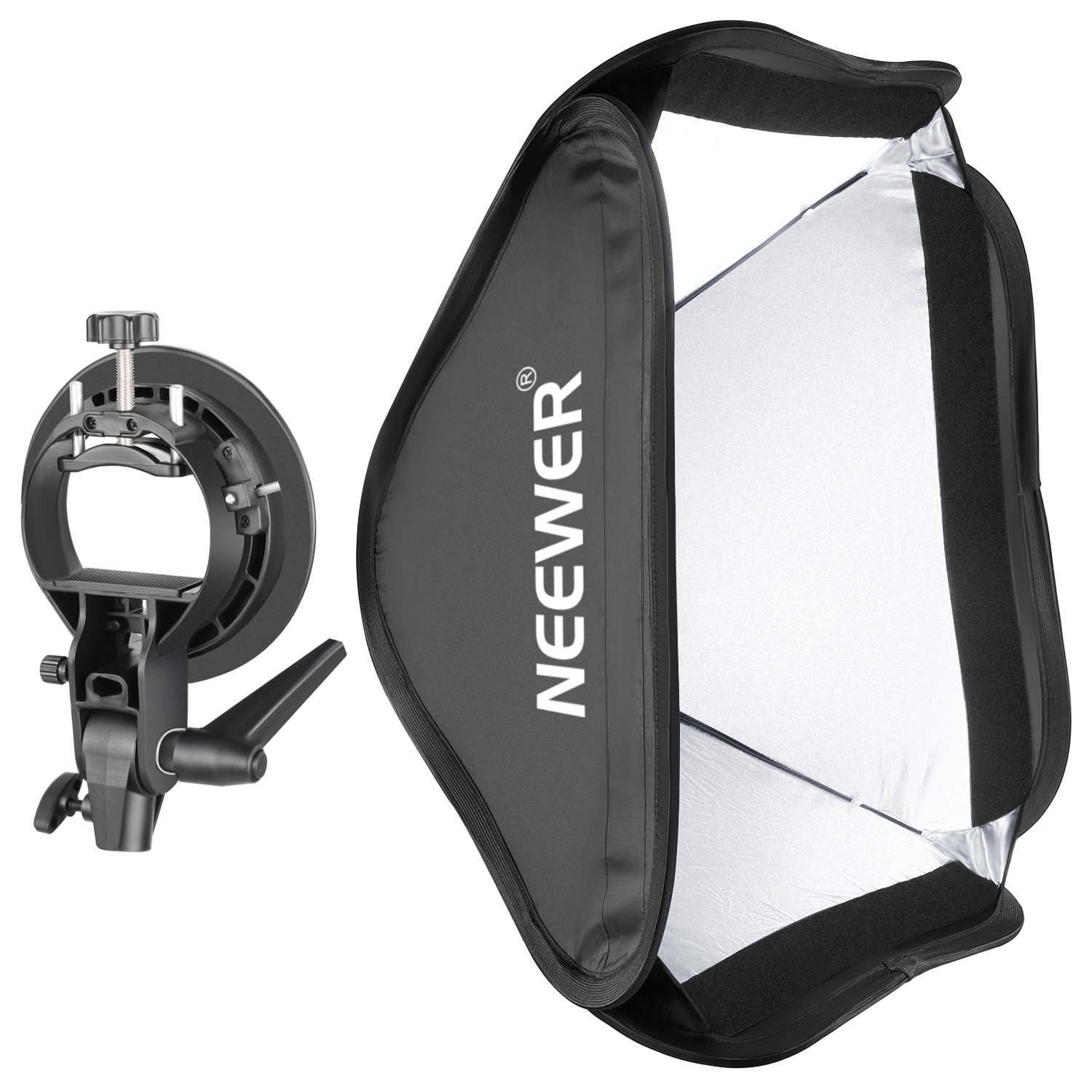Neewer Collapsible 24x24 inches/60x60 centimeters Softbox with S-type Bracket Mount for Speedlite Studio Flash Monolight,Portrait and Product Photography by Neewer