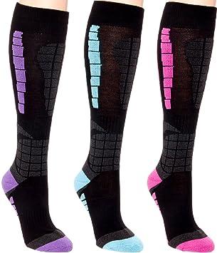 LISH Lot de 3 Chaussettes de ski pour femme - Plus de la neige de veau Chaussettes pour snowboard, ski, femme, multicolore: Amazon.es: Deportes y aire libre