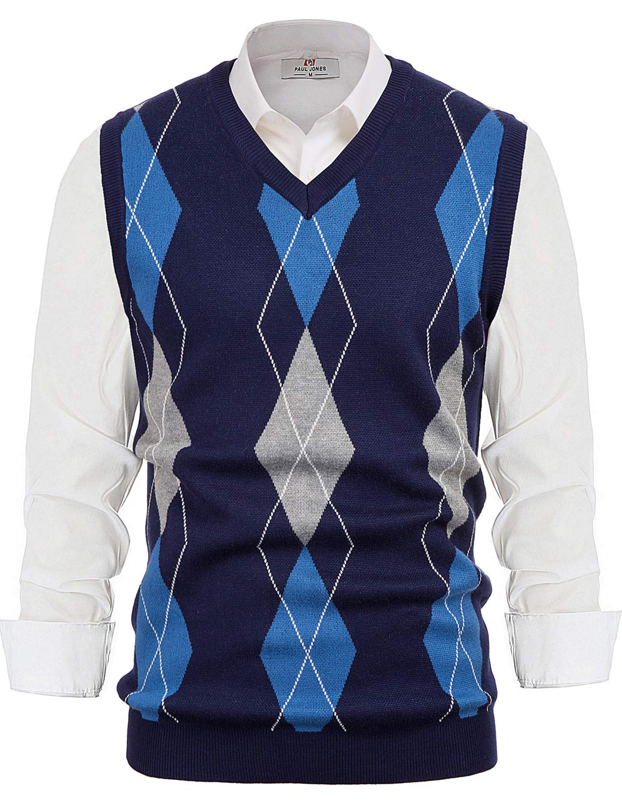 Men's Classic V-Neck Argyle Sweater Vest Lightweight Pullover Vest Navy, X-Large by PAUL JONES