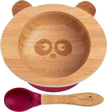 Promise Babe Cuenco de bamb/ú con ventosa Cuenco para beb/é de bamb/ú natural con ventosa antideslizante Cuenco 100/% sostenible de bamb/ú cuenco blanco