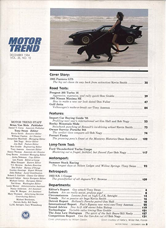 MOTOR TREND 1985 Peugeot 205 Nissan Maxima road tests 12 1984 at Amazons Entertainment Collectibles Store