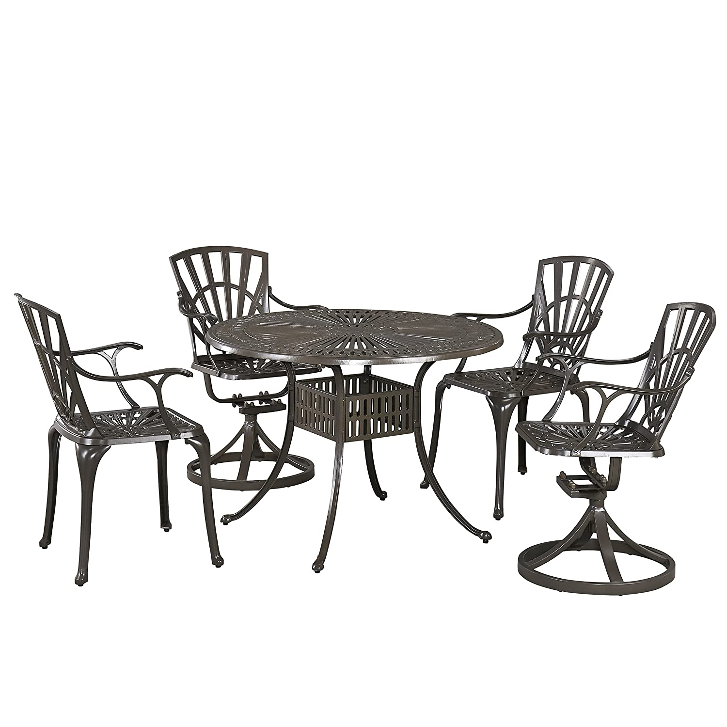 Outstanding Home Styles 5561 3058 Largo 5 Piece Outdoor Dining Set With 42 Table Two Swivel Chairs And Two Arm Chairs Evergreenethics Interior Chair Design Evergreenethicsorg