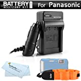 Battery Charger Kit For Panasonic Lumix DMC-TS25, DMC-TS20, DMC-TS30, DMC-TS30K WaterProof Digital Camera Includes Ac/Dc Rapid Travel Charger For Panasonic DMW-BCK7 Battery + Floating Strap + More