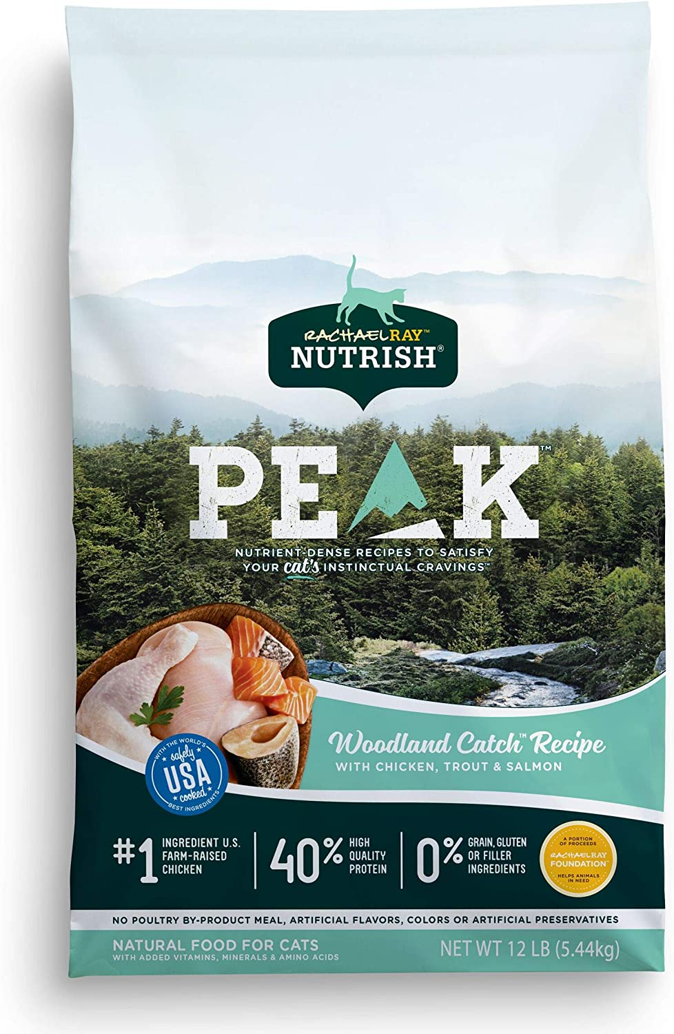 Rachael Ray Nutrish PEAK Natural Dry Cat Food, Woodland Catch Recipe with Chicken, Trout & Salmon, 12 Pounds, Grain Free