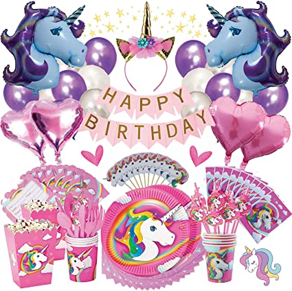 8 x Pink /& White Girls Once Upon a Party Balloons Child Princess /& Unicorn Party