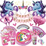 Unicorn Party Supplies   Birthday Bundle for Girls - Complete Set   Decorations Kit, Balloons, Tableware Set, Table Cover, Plates, Headband, Magical Rainbow Kids Theme, Pink Happy Banner,   It's Lit!