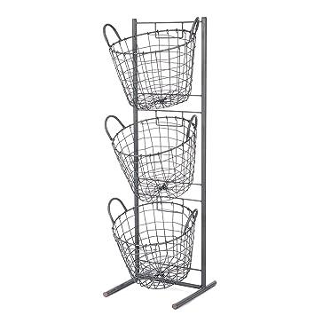 Excellent Amazon.com: Skalny Round Metal 3 Tier Basket Display Stand, 11.75  QP03