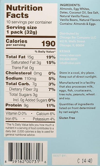 RXBAR Vanilla Almond Nut Butter - Box of 10 - RX Bar