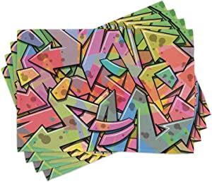 Ambesonne Colorful Place Mats Set of 4, Abstract Grunge Arrows Graffiti Inspired Spray Paint Style Illustration, Washable Fabric Placemats for Dining Room Kitchen Table Decor, Pink Green