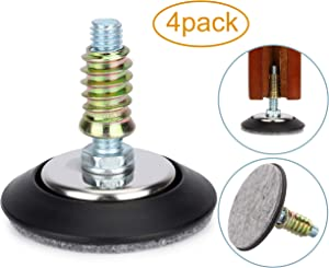"Furniture Levelers - Adjustable Leveling Legs for Tables Chairs Cabinets - 2.5"" Diameter Base with 4 Felt Pads, 3/8""-16 Thread- S/S Polished Chrome (4 Pack)"