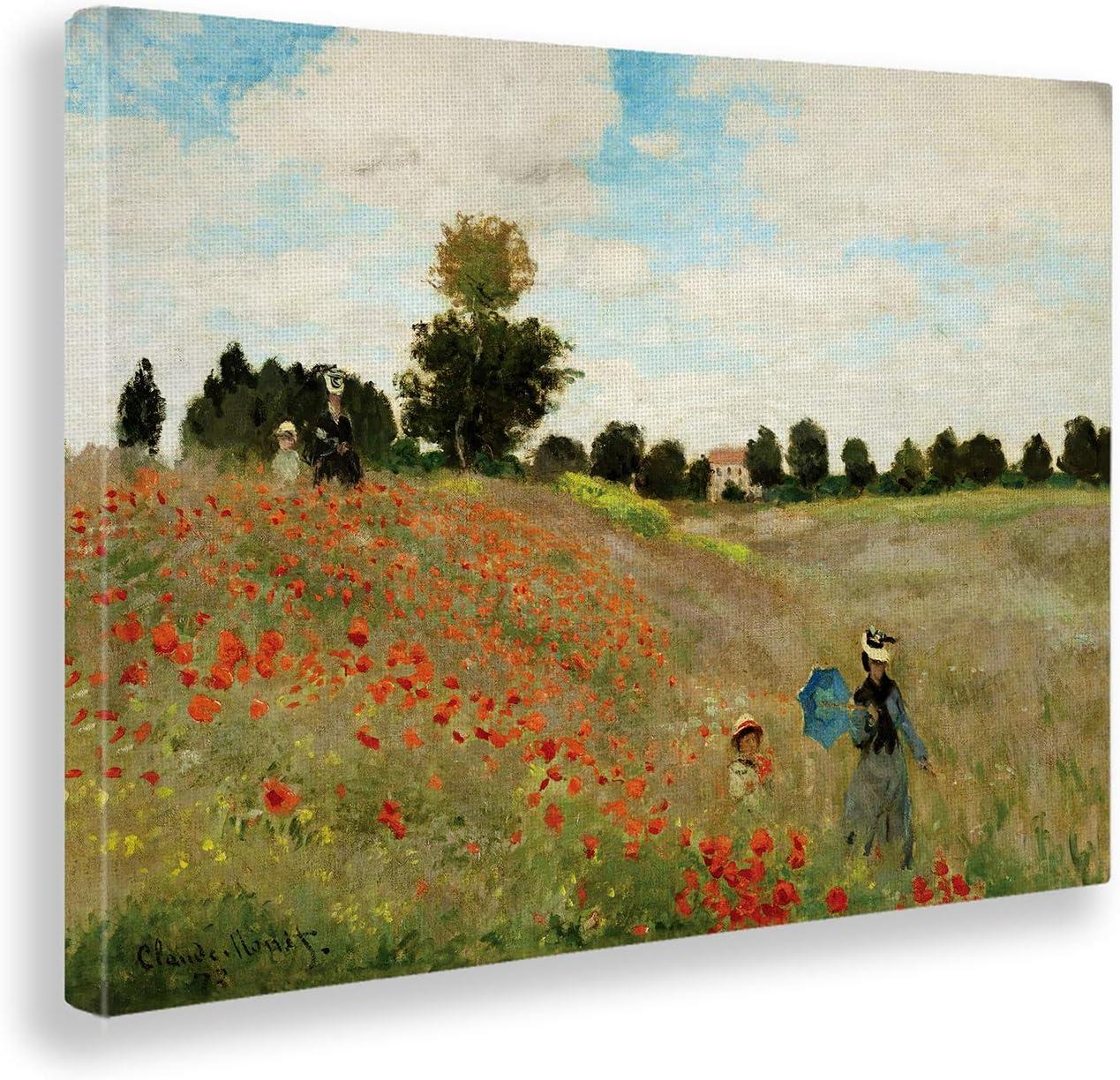 Giallobus - Cuadro - Claude Monet - Campo de Amapolas 2 - Estampado en Lienzo - Listo para Colgar - Varios tamaños - 140X100 cm