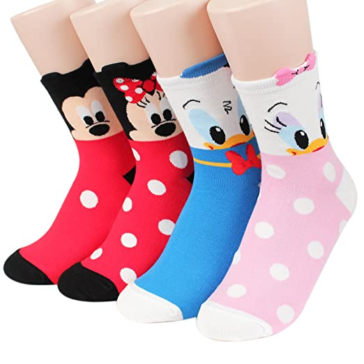 941daef3f1b Kikiya Socks Disney Pixar Character Series Women s Original Crew Socks  (Mickey Friends 4pairs)