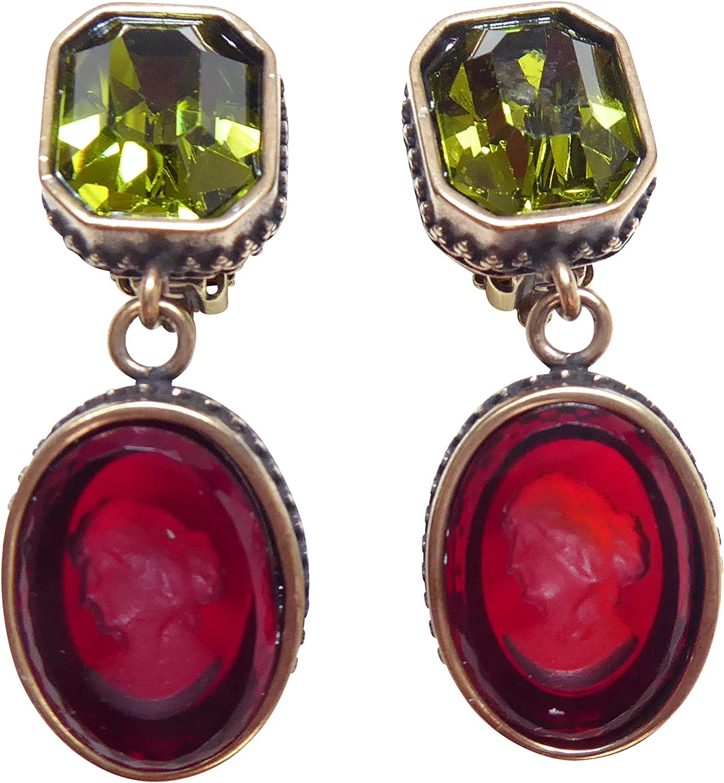 Pendientes de gemas verdes y rojos, muy grandes, piedra rectangular verde oliva, colgante con cristal rojo, bronce, lujo, hecho a mano, diseñador EXTASIA