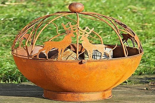 Bol para Fuego Brasero Exterior Jardin en Hierro Oxidado Modelo Berna con Ciervos Renos Altura 55cm: Amazon.es: Hogar