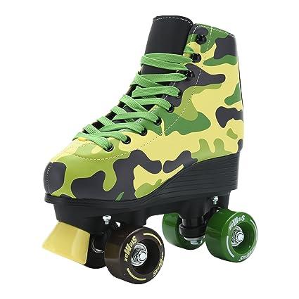 Roller Skates Amazon Com >> Stemax Quad Roller Skates For Boys Girls And Women Camo Skates Size 2 5 Youth To 7 5 Men Outdoor Indoor Rink Skating Adjustable