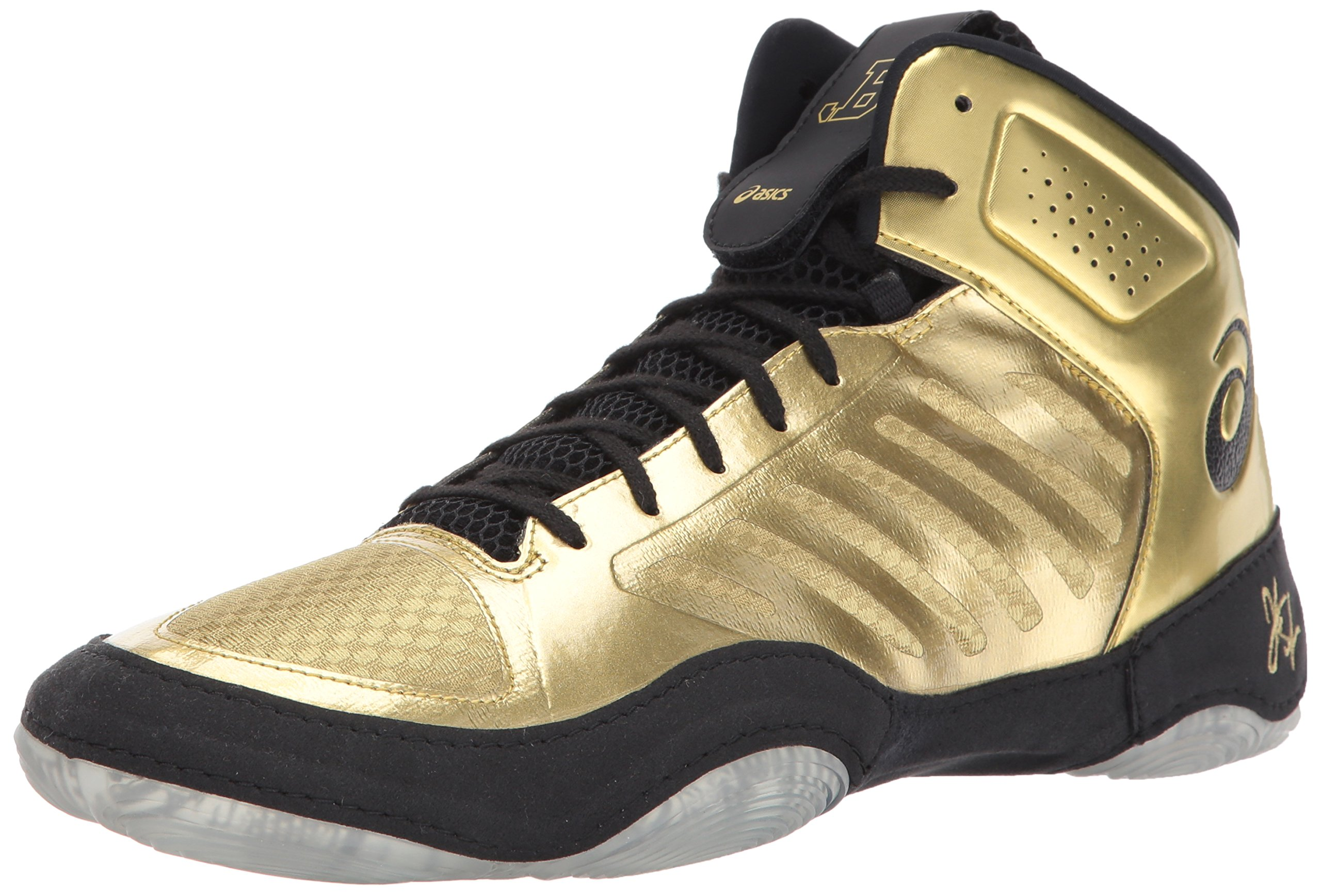 ASICS Men's JB Elite III Wrestling Shoe, Rich Gold/Black, 9.5 Medium US