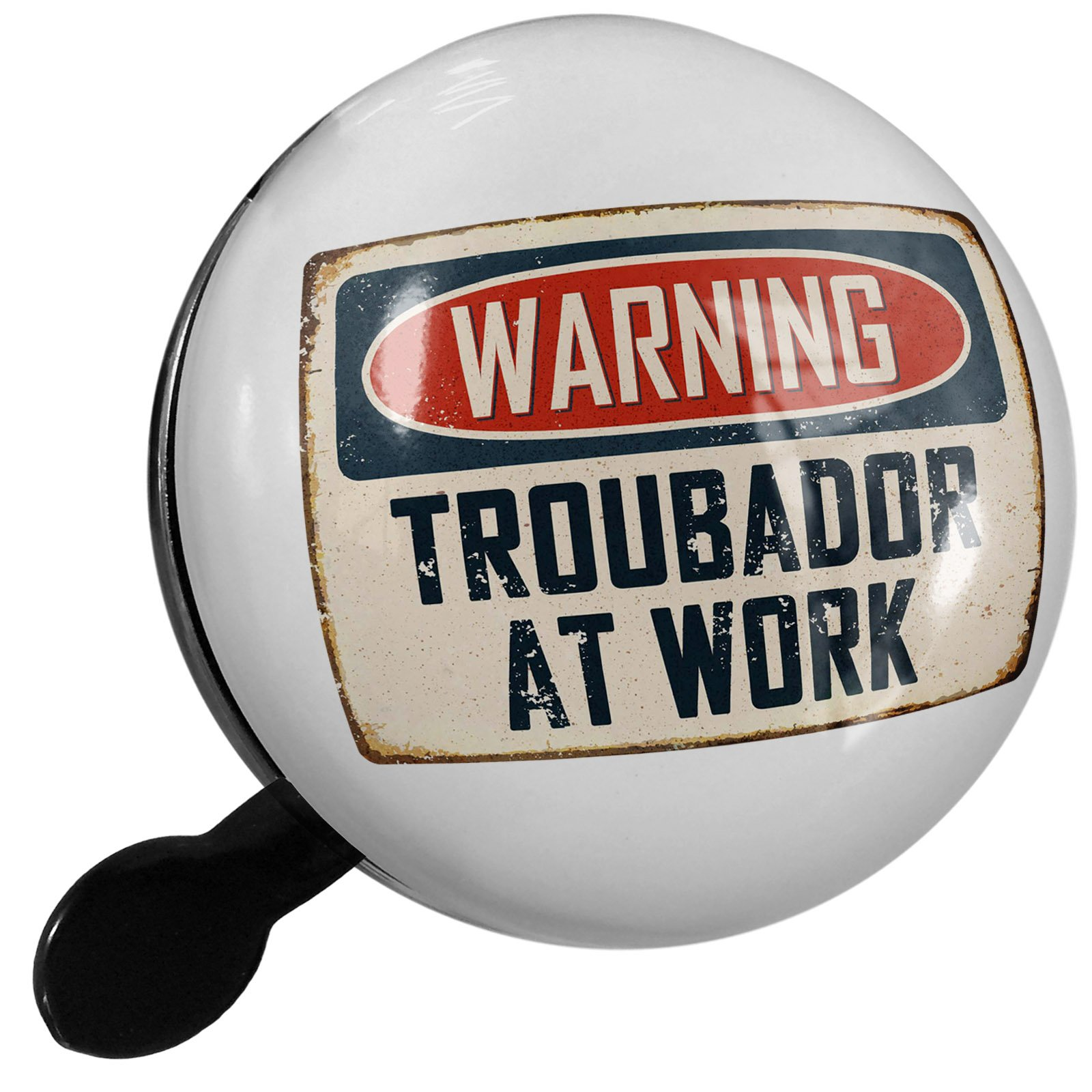 Small Bike Bell Warning Troubador At Work Vintage Fun Job Sign - NEONBLOND