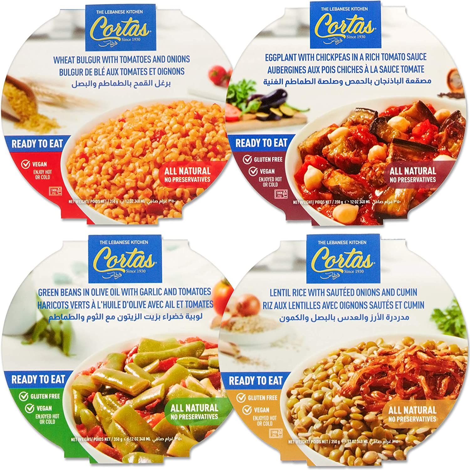 Cortas - Plant Based Ready to Eat Meals (4 in 1 PACK), (Variety Combo), All Natural, Vegan, Gluten Free
