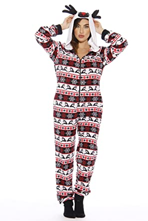 f025d2ef92 Amazon.com  Just Love Holiday Reindeer Adult Onesie Pajamas  Clothing