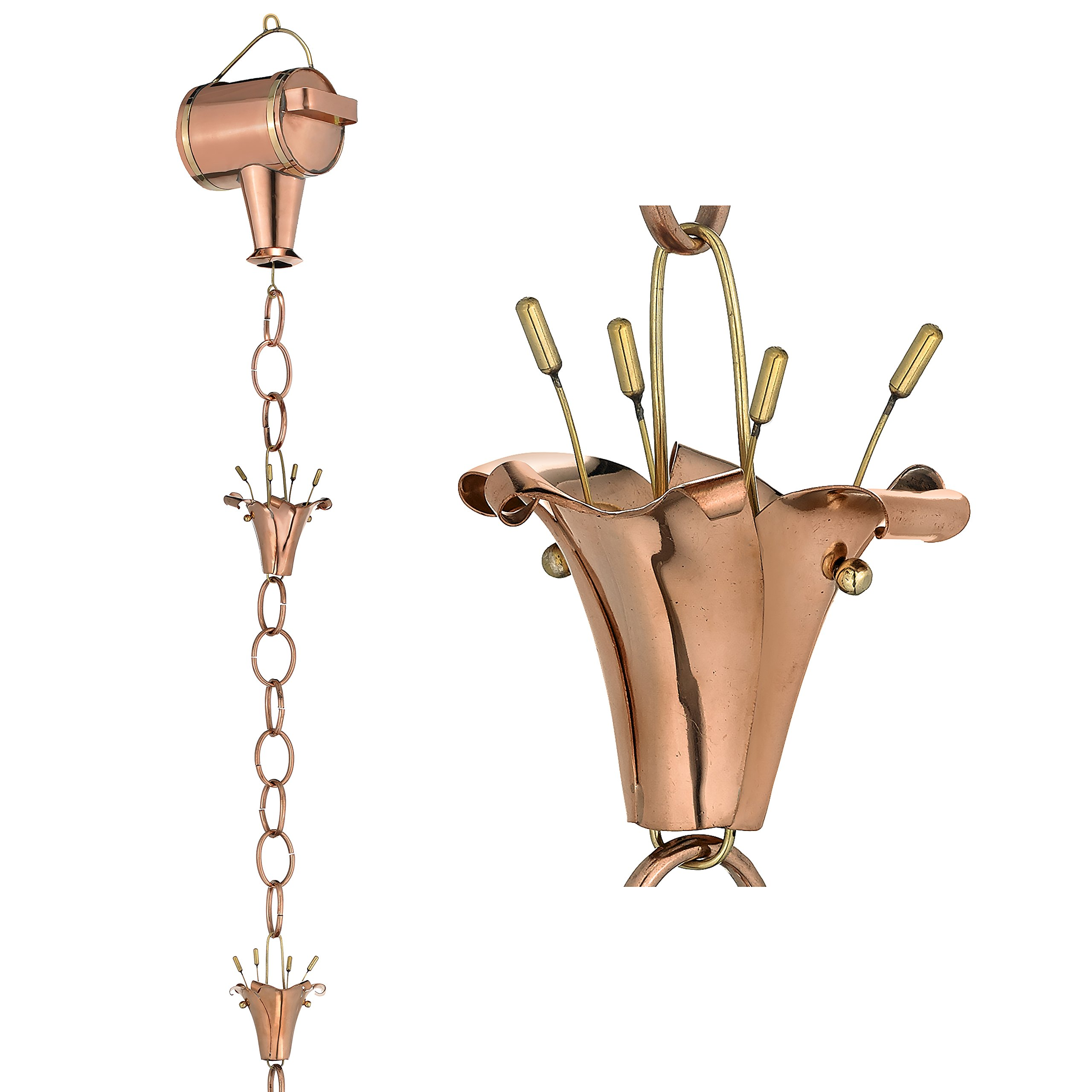 Good Directions Watering Can with Flowers Pure Copper 8.5-Foot Rain Chain by Good Directions