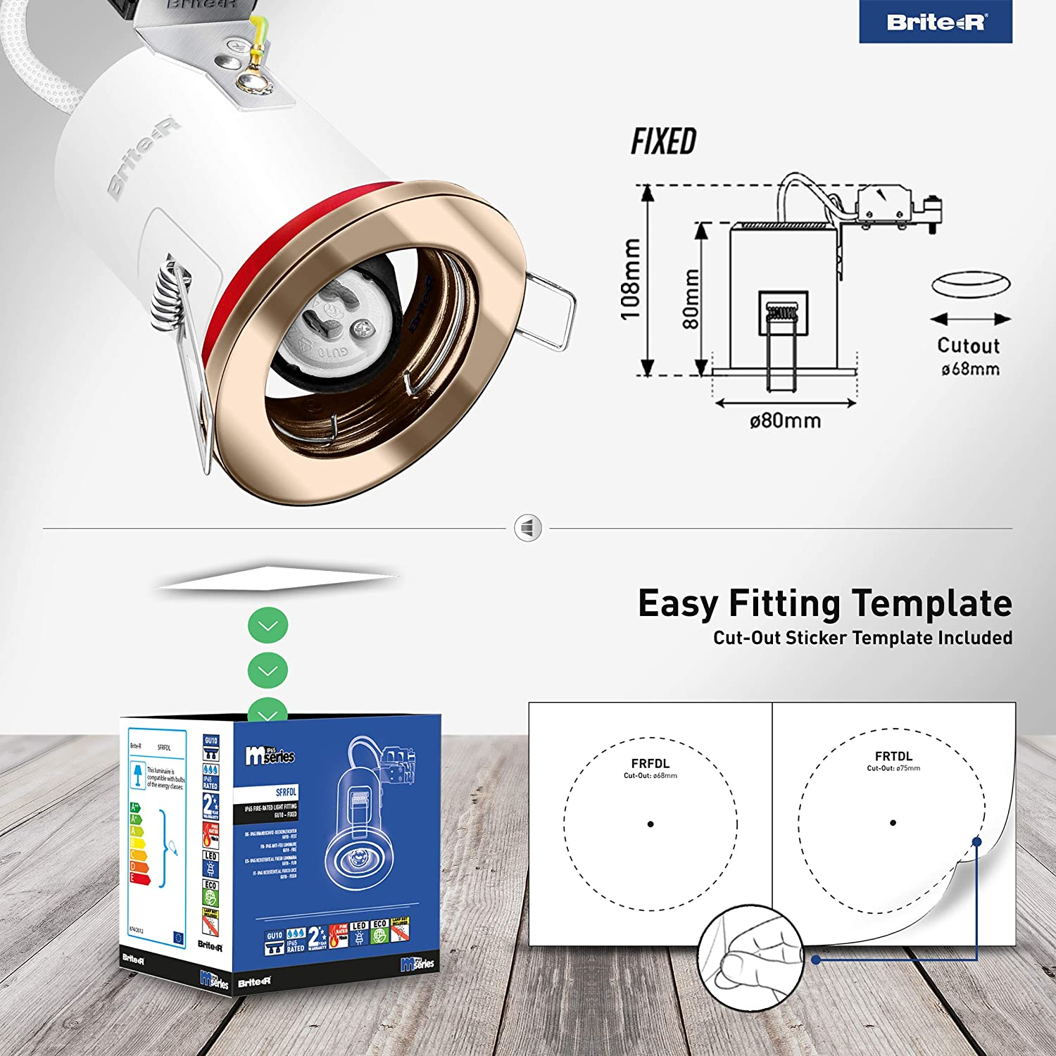 10x GU10 Fire Rated Fixed Downlight Antique Brass Brite-R LED Spotlight Recessed Ceiling Light Fitting Pressed Steel IP20 Rated Halogen Compatible CE Approved Easy Install 2 Year Warranty No Bulb