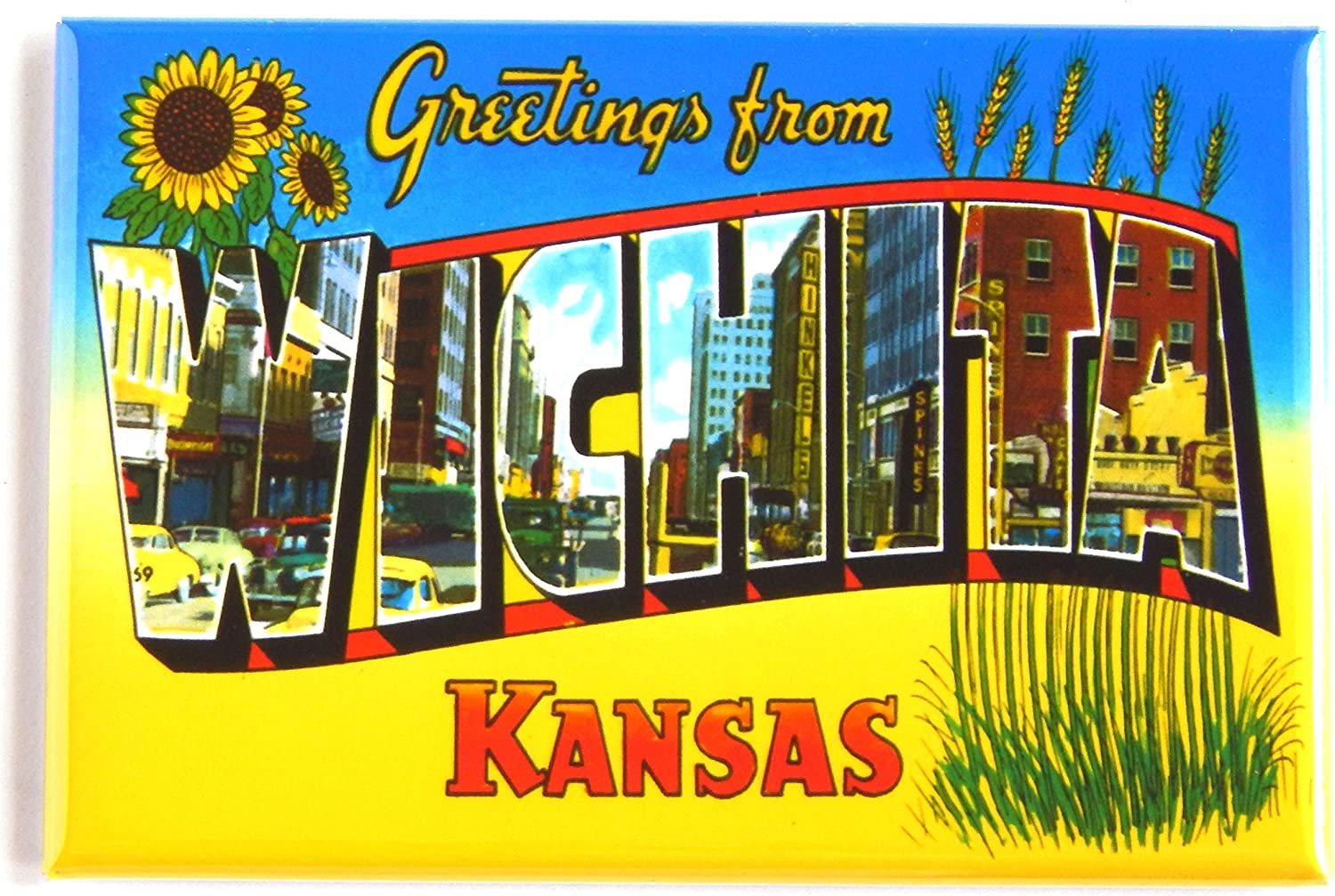 Greetings from Wichita Kansas Fridge Magnet (2 x 3 inches) style B