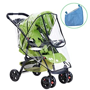 Universal Baby Stroller Rain Cover and Buggy Storage Bag , HULISEN Waterproof Umbrella Stroller Wind Dust Shield Cover and Organiser for Strollers