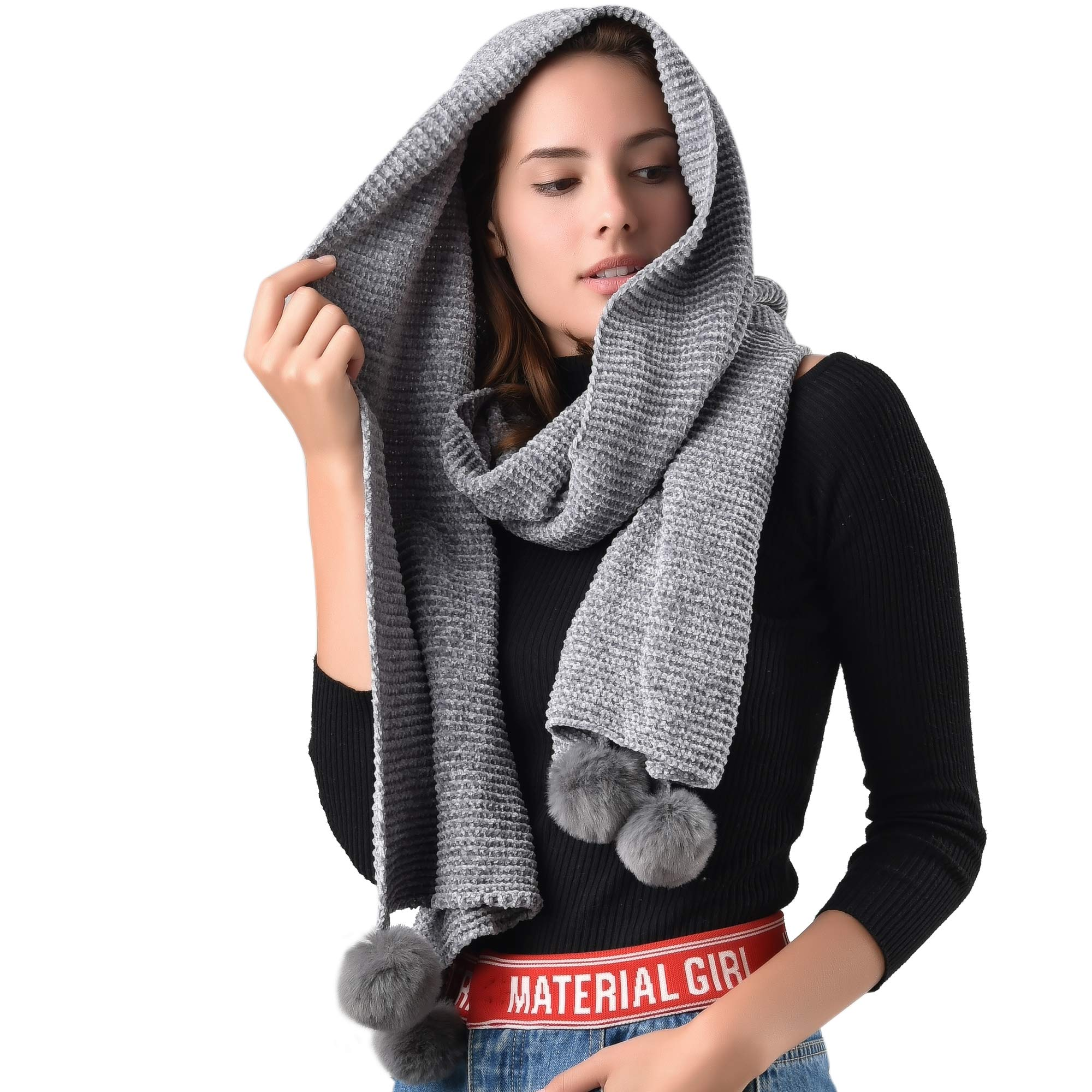 FURTALK Chenille Women Winter Scarf Oversize Soft Shawl Poncho Scarves Luxury Brand For Girls