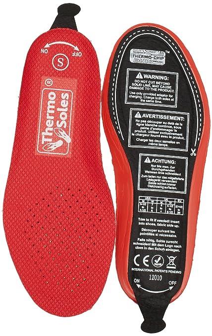 thermosoles Plantillas calefactables térmica Suelas 3D con Mando a Distancia, Unisex, Color Rojo -