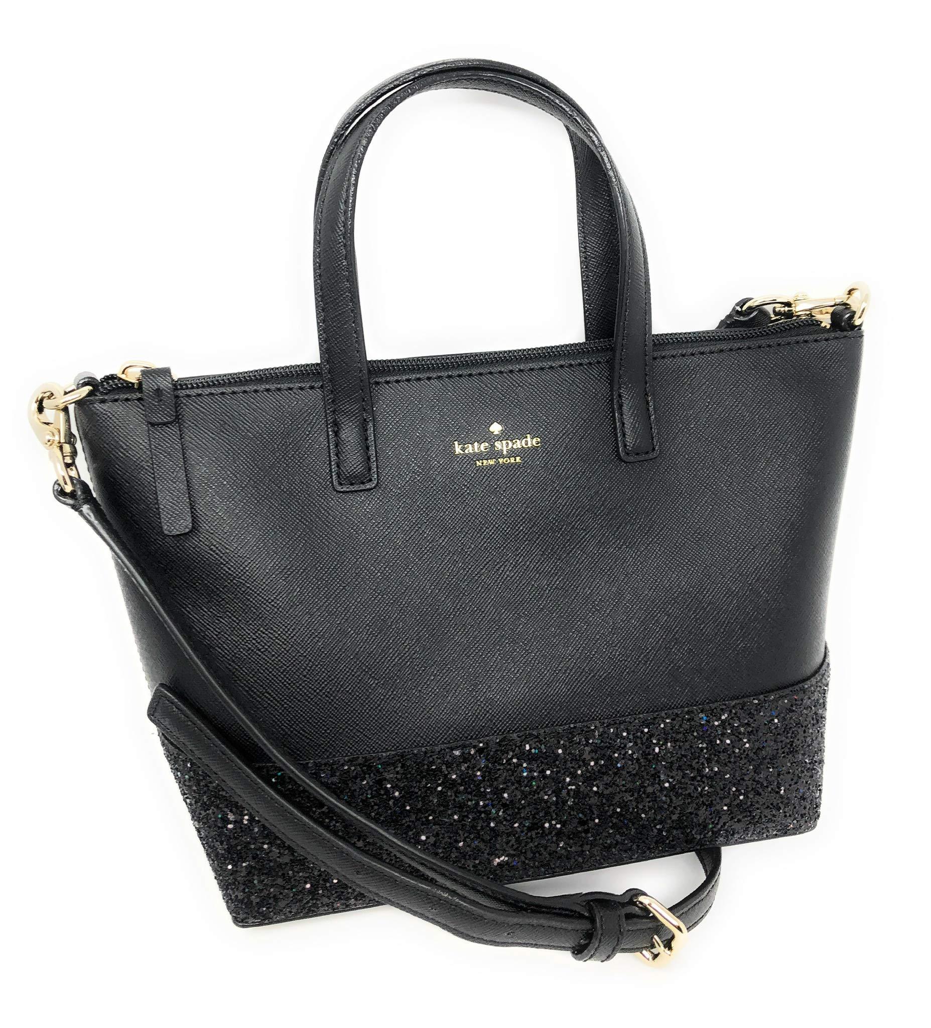 Kate Spade New York Ina Greta Court Glitter Crossbody Bag Top Handle Handbag (Black)