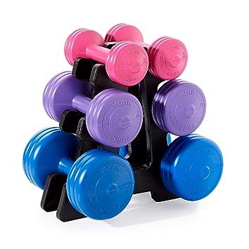 York Fitness Unisex Vinilo Juego de Mancuernas con Soporte, Color Azul/Morado/Rosa, 19 kg: Amazon.es: Deportes y aire libre