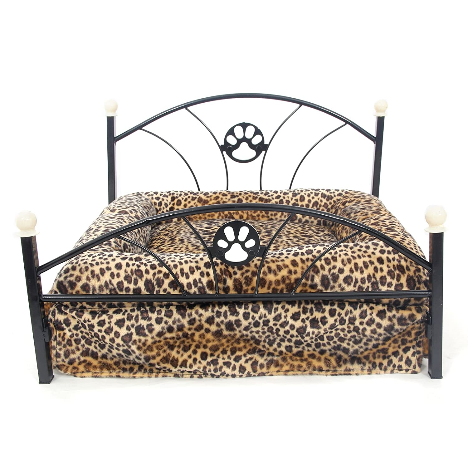 Amazon.com : PAWZ Road Metal Frame Pet Bed for Small and Medium Dogs with Mattress Leopard : Pet Supplies