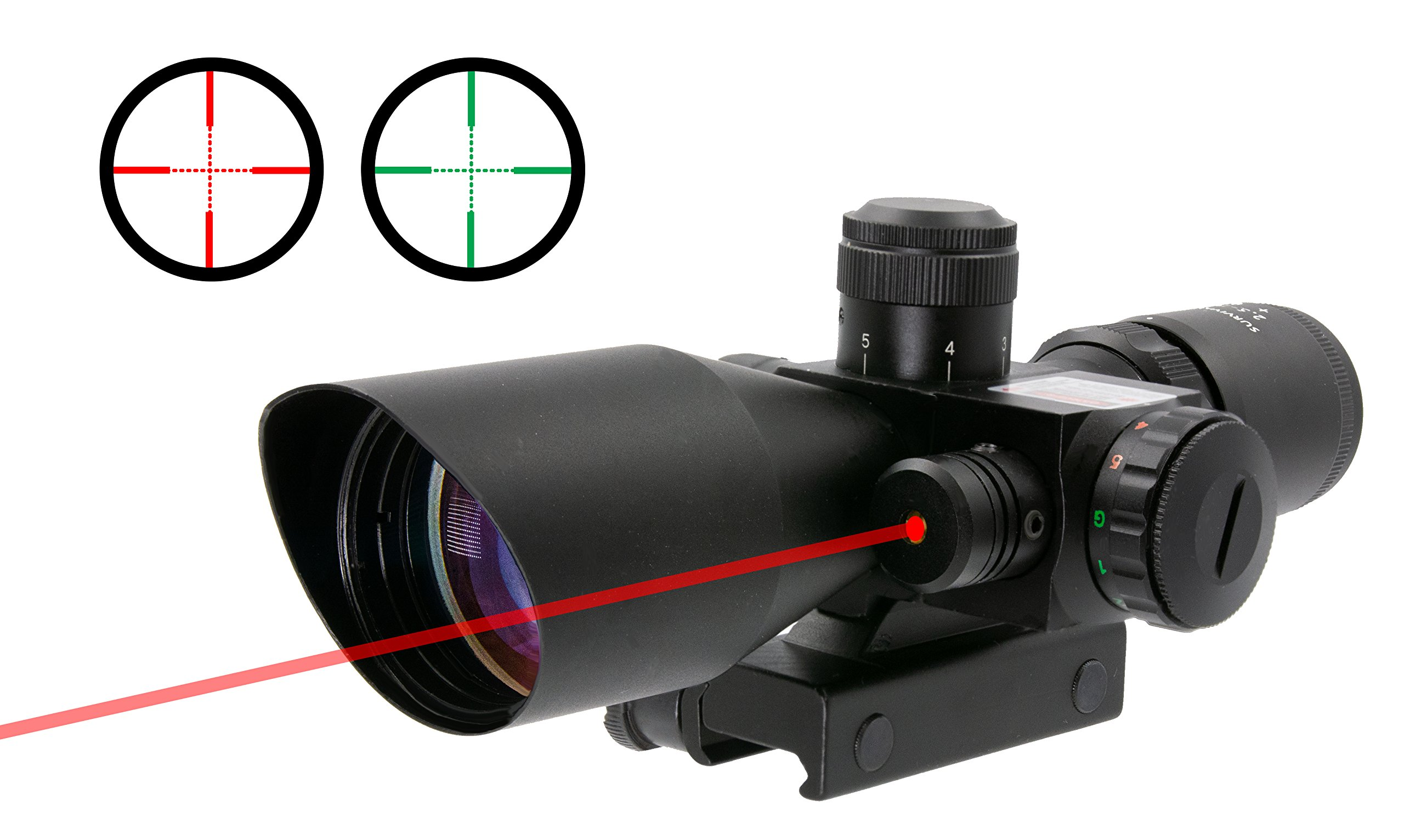 Survival Land 2.5-10x40 Rifle Scope - Illuminated Red & Green Mil-dot Reticle - Perfect as a Hunting Scope, Tactical Scope, Paintball Scope, or Airsoft Scope - Comes with a Class 3 Red Laser. by Survival Land