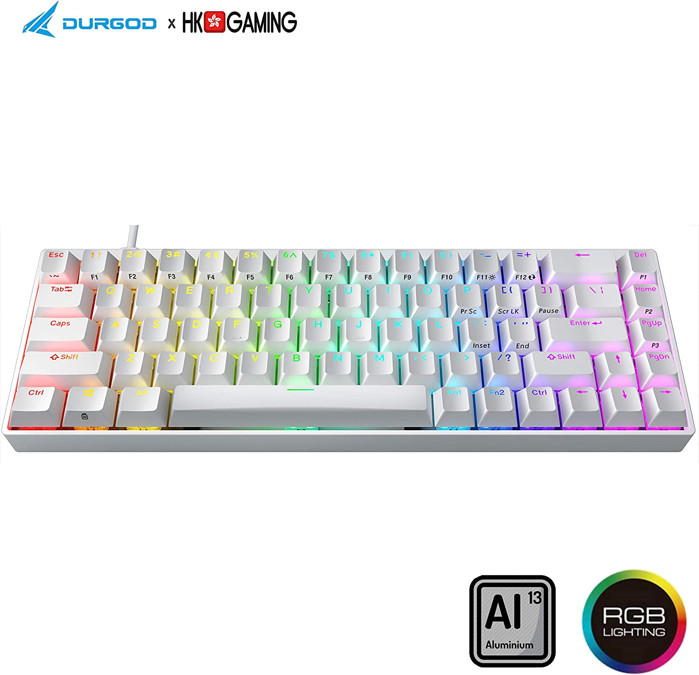 Durgod Hades 68 RGB Mechanical Gaming Keyboard - 65% Layout - Cherry Profile - NKRO - USB Type C - Aluminium Chassis (Cherry Silent Red, White PBT)