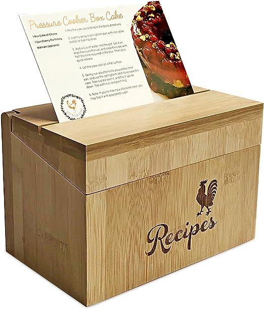 Madera caja de recetas con 40 tarjetas de índice – construcción de madera de bambú – incluye 10 impreso tarjetas de recetas: Amazon.es: Hogar