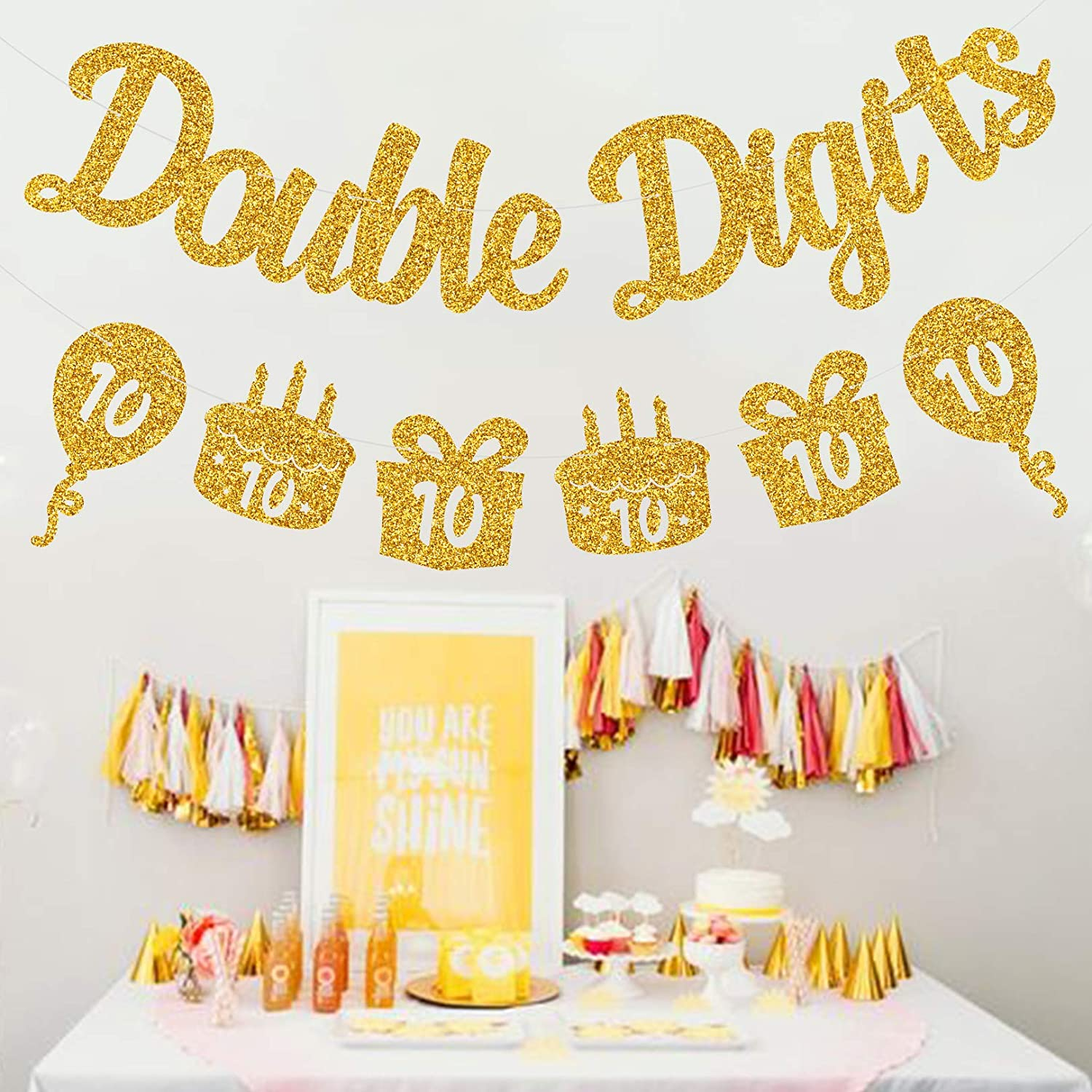 Happy 10th Birthday Decorations 10 Year Birthday Decorations for Kids 10th Birthday Decors 10th Anniversary Party Supplies MAGBEA Double Digits 10th Birthday Banner Double-sided and Golden Glitter