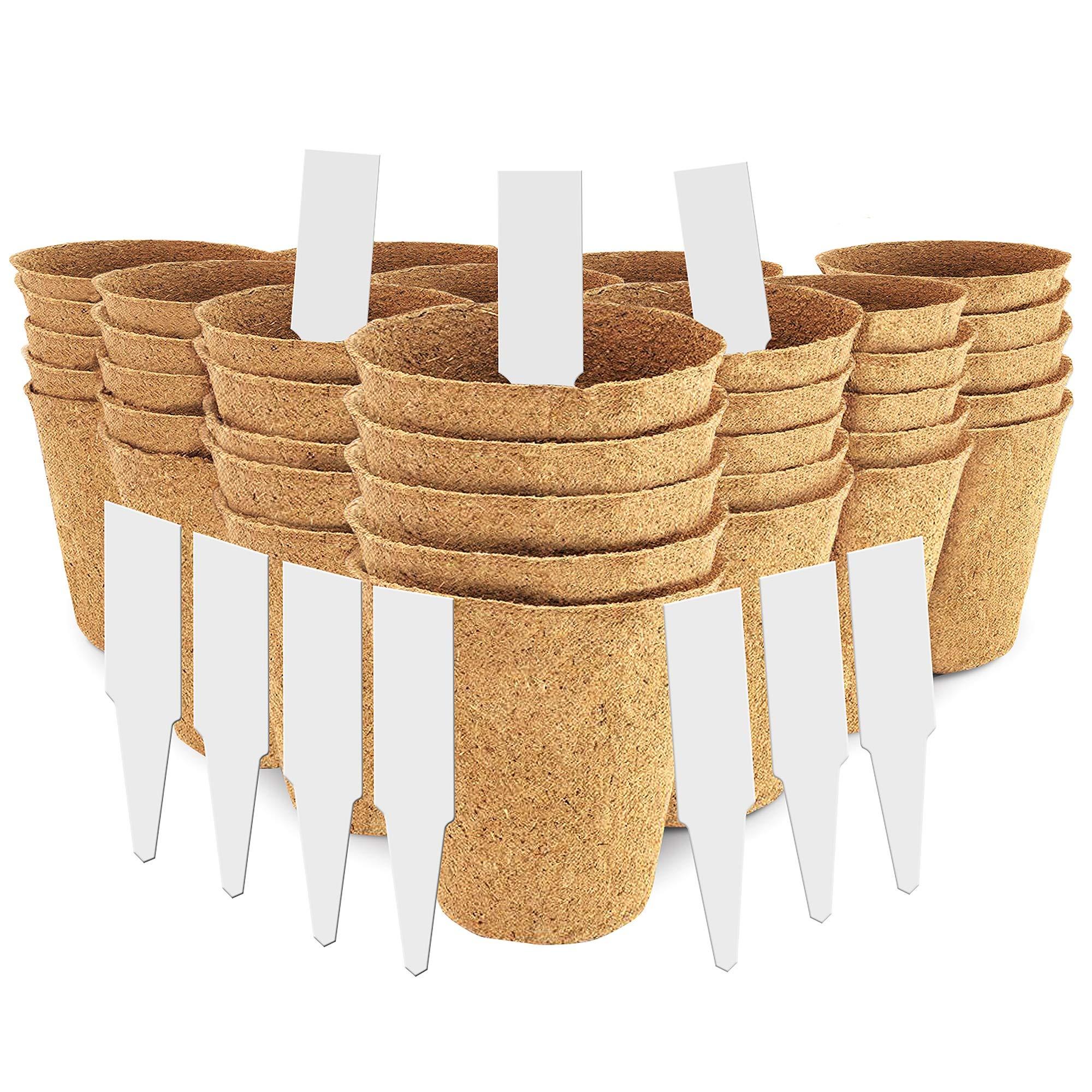 "3"" Peat Pots   Plant Starters   Seedling & Herb Seed Starter Kit - Organic Biodegradable Pots 100% Eco-Friendly Enhance Aeration   BONUS 10 Plastic Plant Markers – Bulk 60 Pack, 3 inch"