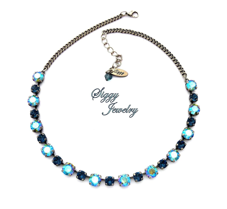eccd74eea Amazon.com: Swarovski® Crystal Necklace, 8mm Erinite Shimmer, 6mm Montana  Blue, Antique Silver Finish, Peacock Sparkle, Gift Packaged: Handmade