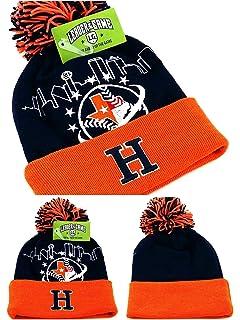 wholesale dealer a6796 53531 Houston New Leader TX City Skyline Astros Colors Blue Orange Era Knit  Beanie Toque Cuffed Pom