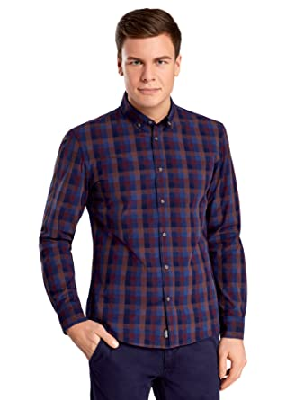614f6eb3 oodji Ultra Men's Casual-Style Checkered Shirt: Amazon.co.uk: Clothing