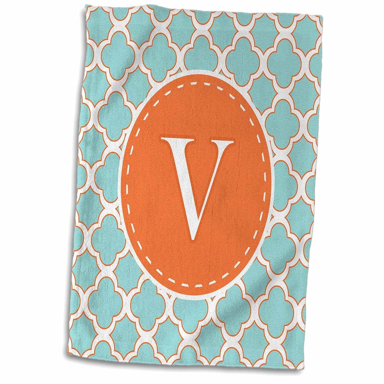 3D Rose Letter V Monogram Orange and Blue Quatrefoil Pattern TWL_210623_1 Towel 15' x 22' Multicolor