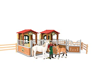 Schleich Visit in The Open Stall Figurine Toy Play Set, Multicolor