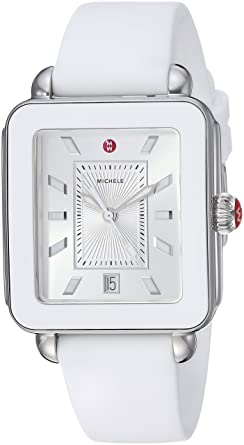 2d8649e9e MICHELE Women's Stainless Steel Swiss-Quartz Watch with Rubber Strap, White,  18 (