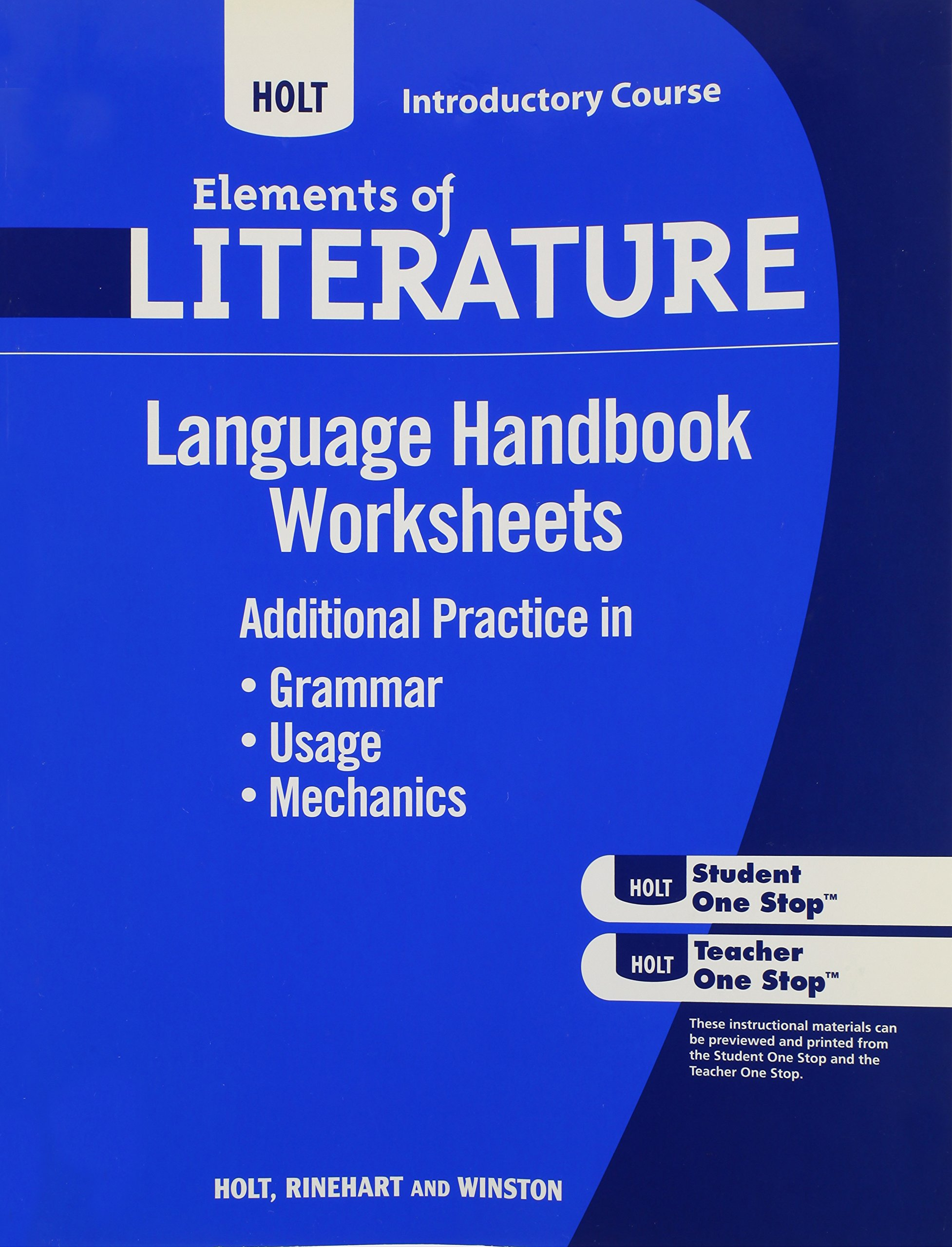 Language Handbook Worksheets Isbn 0554008645 Holt Elements Of Literature Introductory Course Amazon Com Books [ 2560 x 1954 Pixel ]