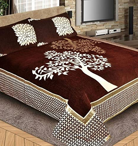 46177ddb71 Innovative Edge 50 TC Velvet Double Bedsheet with 2 Pillow Covers - Modern,  Coffee: Amazon.in: Home & Kitchen
