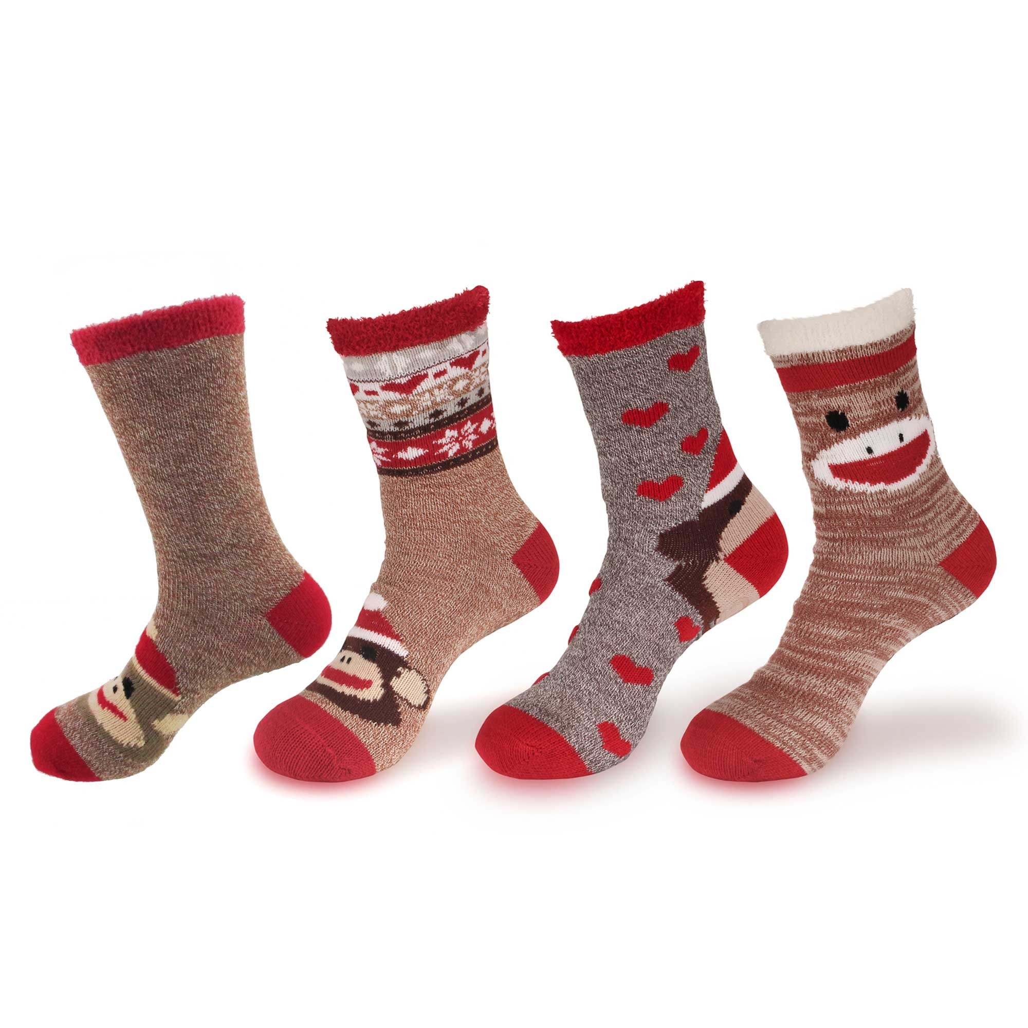 Animal Double Layer Extra Thick Soft Warm Fuzzy Non-Skid Crew Socks - 4 Pairs, Assortment D