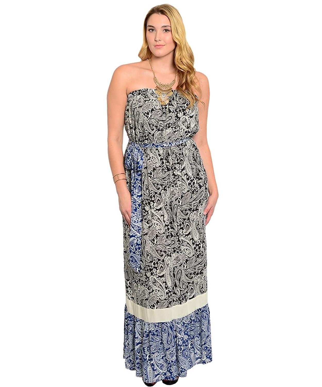 Bandeaukleid / Freizeitkleid / Frühlingskleid / Sommerkleid bodenlang, trägerlos mit Gürtel - blau-weiß & schwarz-weiß