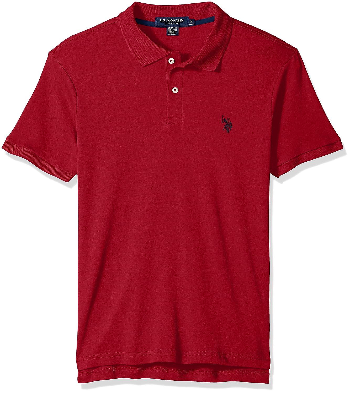 U.S Polo Assn Mens Slim Fit Solid Short Sleeve Interlock Polo Shirt